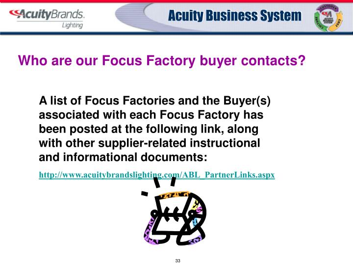 Who are our Focus Factory buyer contacts?