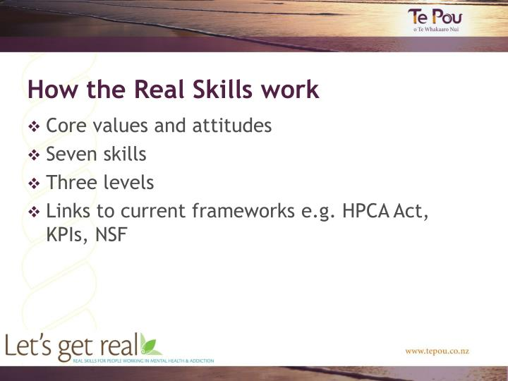 How the Real Skills work