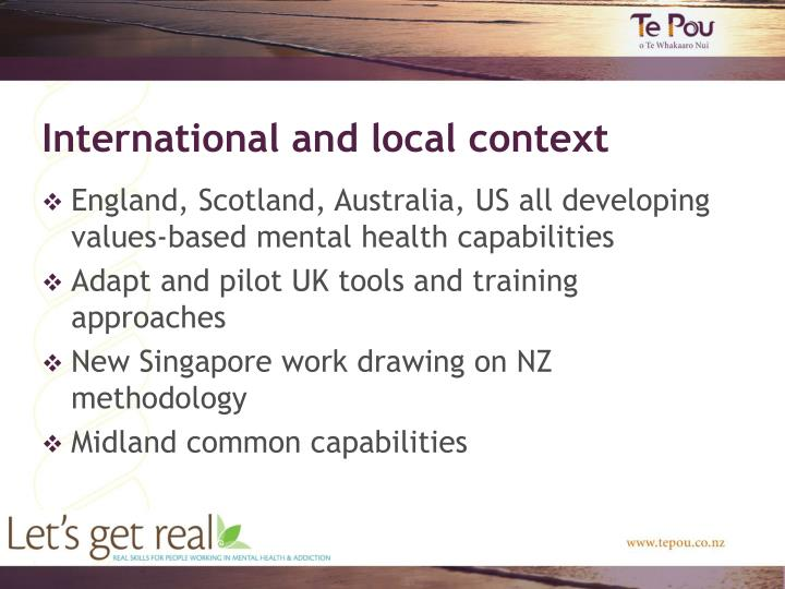 International and local context
