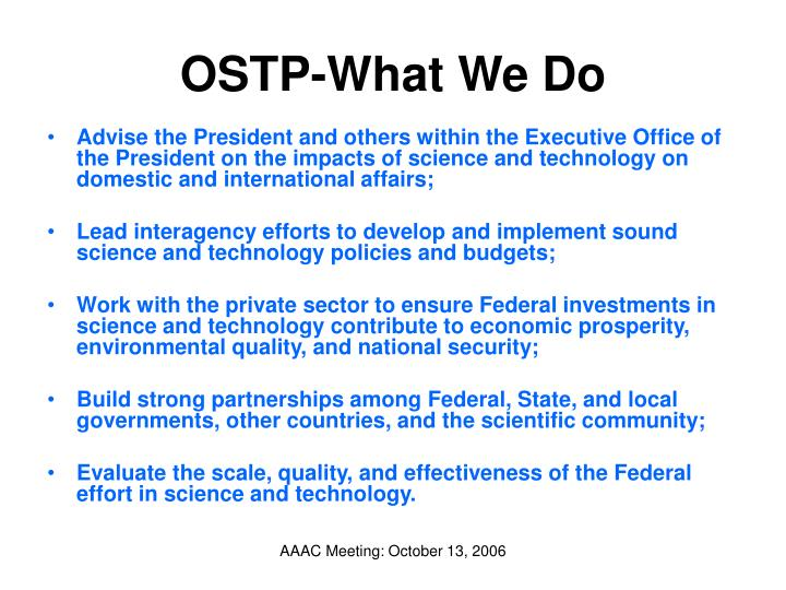 OSTP-What We Do