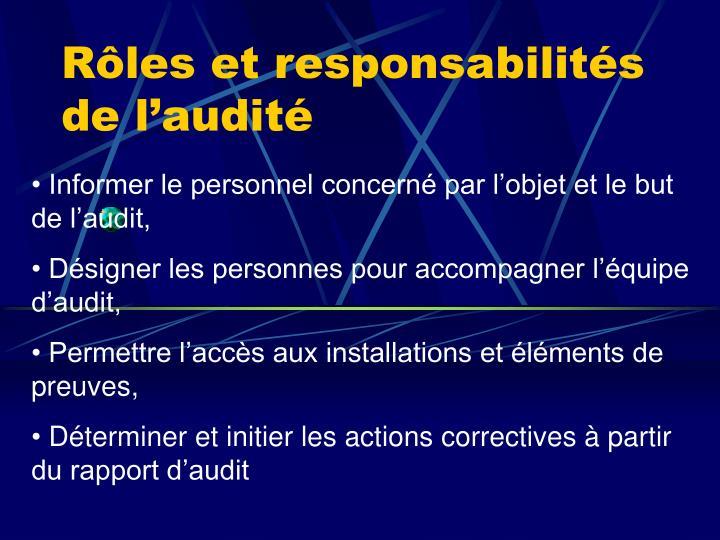 Rôles et responsabilités de l'audité