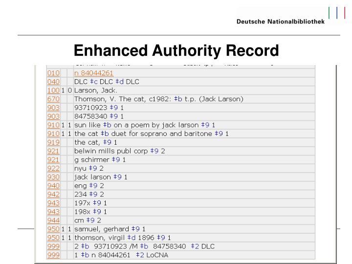 Enhanced Authority Record