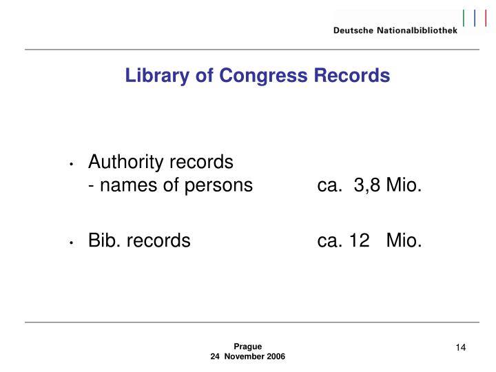 Library of Congress Records