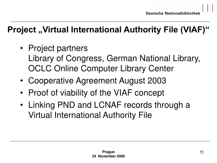 """Project """"Virtual International Authority File (VIAF)"""""""