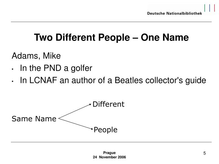 Two Different People – One Name