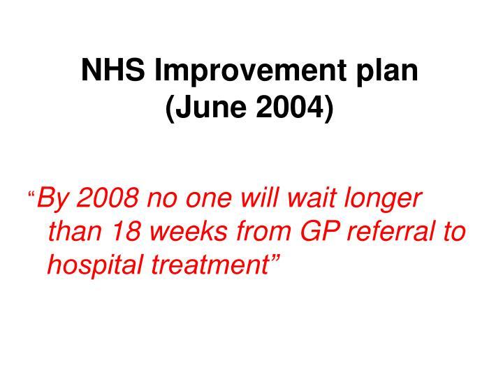 NHS Improvement plan