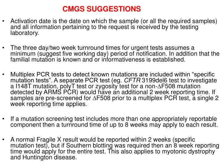 CMGS SUGGESTIONS