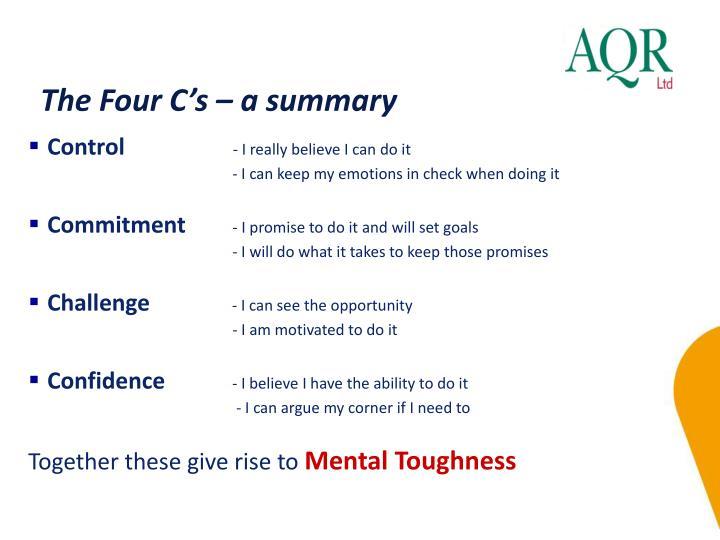 The Four C's – a summary