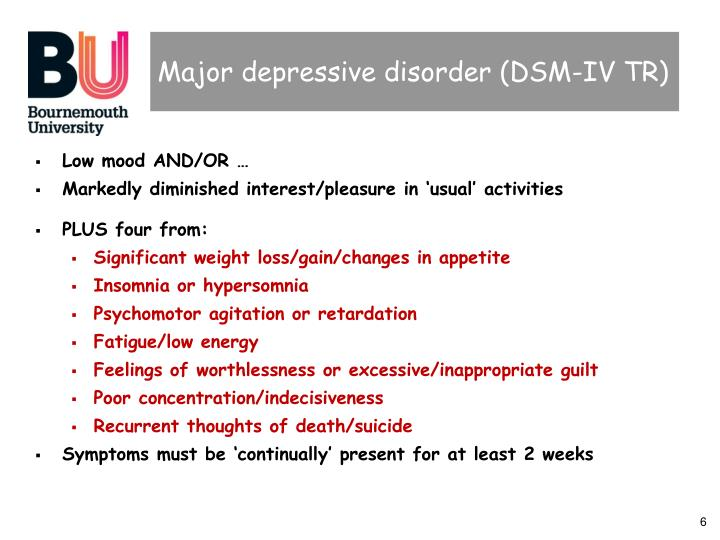 Major depressive disorder (DSM-IV TR)