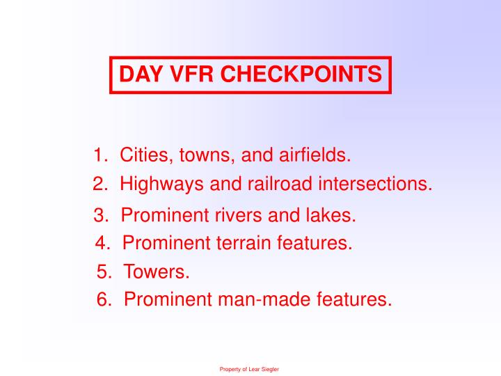 DAY VFR CHECKPOINTS