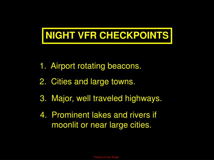 NIGHT VFR CHECKPOINTS