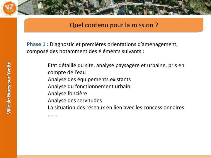 Quel contenu pour la mission ?