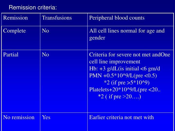 Remission criteria: