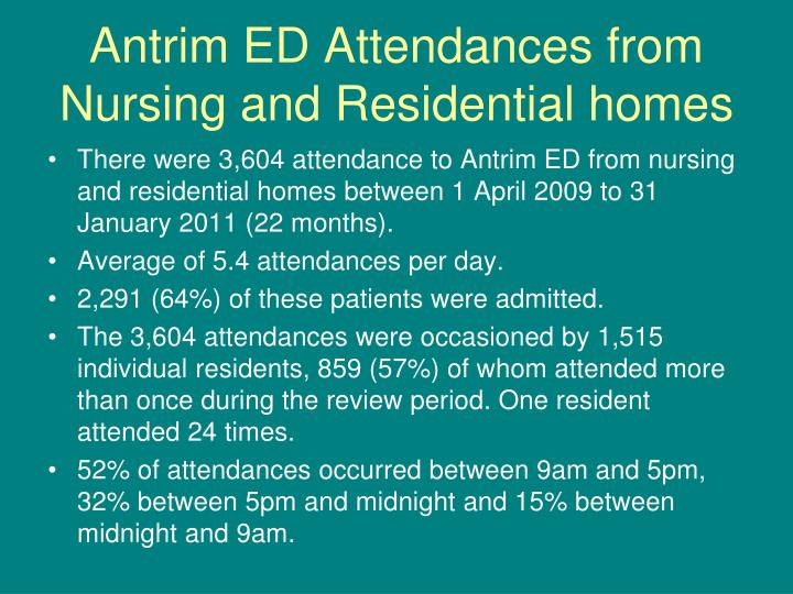 Antrim ED Attendances from Nursing and Residential homes