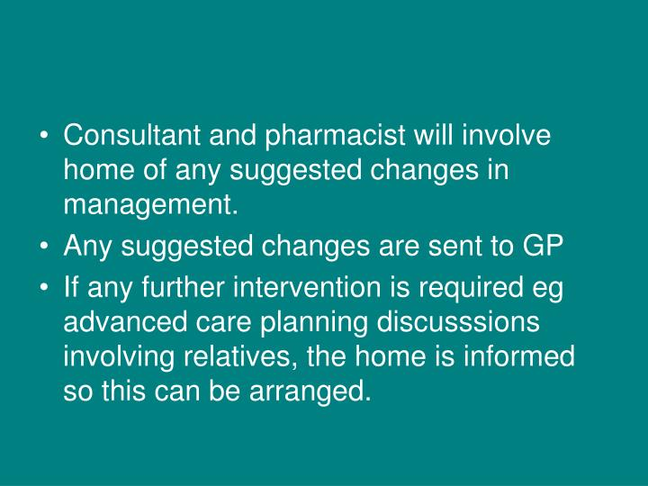 Consultant and pharmacist will involve home of any suggested changes in management.