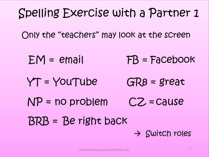 Spelling Exercise with a Partner 1