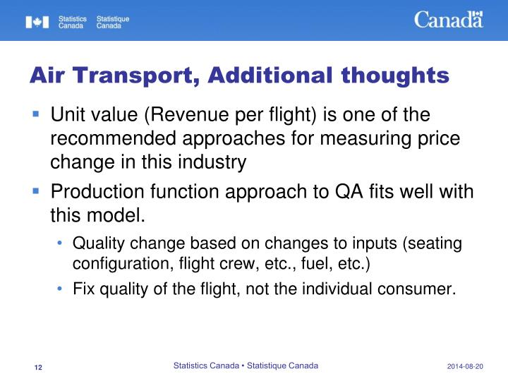 Air Transport, Additional thoughts