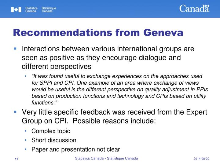 Recommendations from Geneva