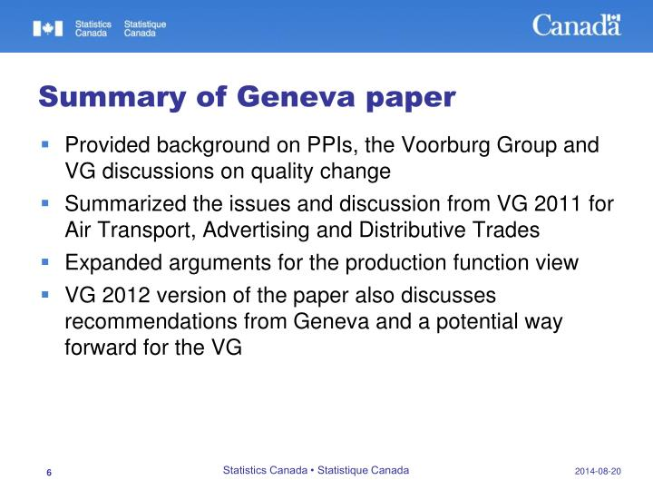 Summary of Geneva paper