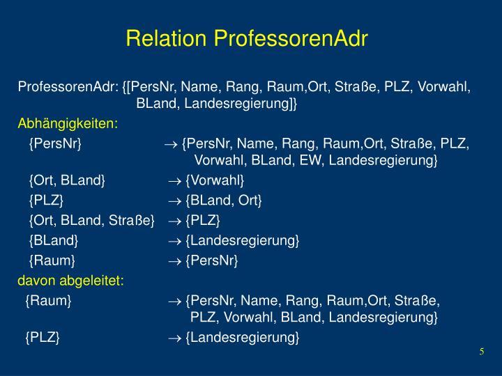 Relation ProfessorenAdr