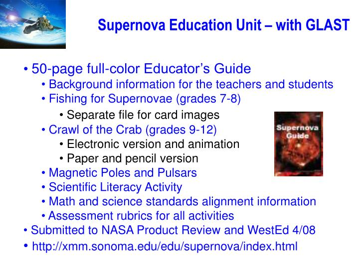 Supernova Education Unit – with GLAST