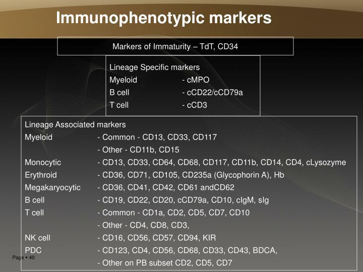 Immunophenotypic markers