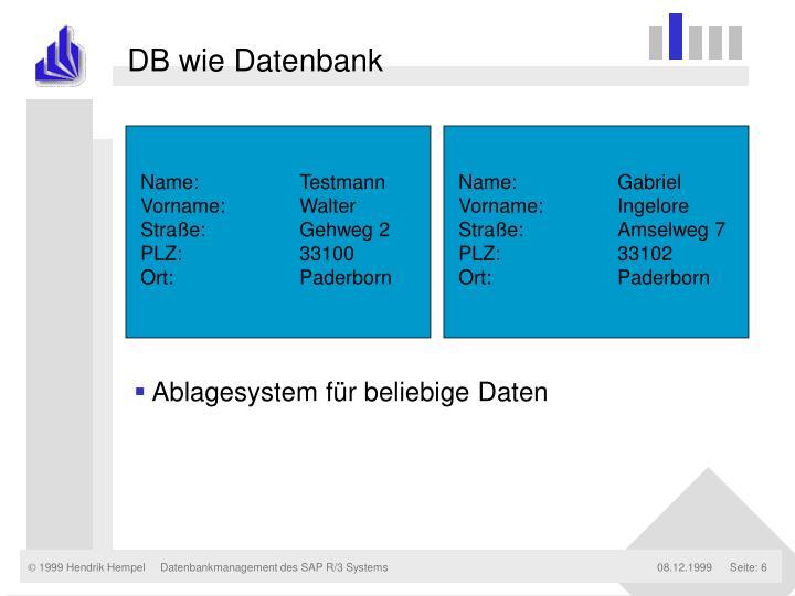 DB wie Datenbank