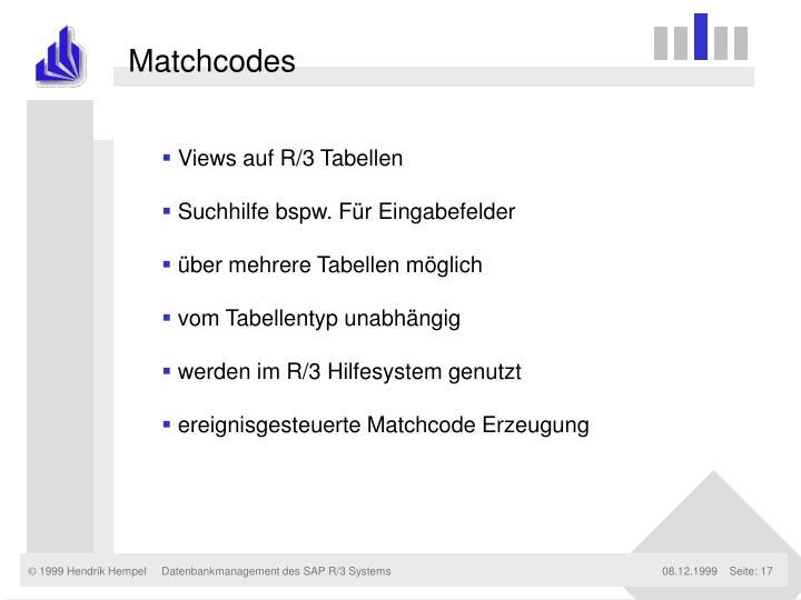 Matchcodes