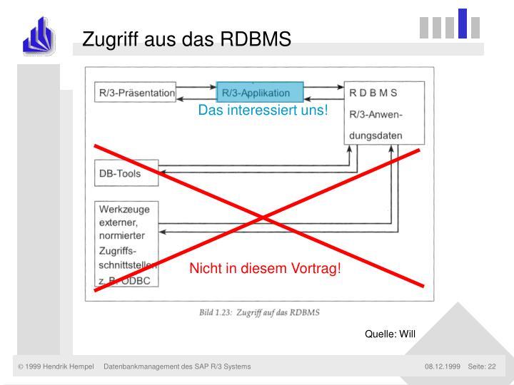 Zugriff aus das RDBMS