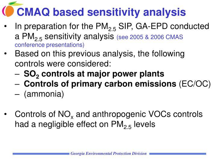 CMAQ based sensitivity analysis