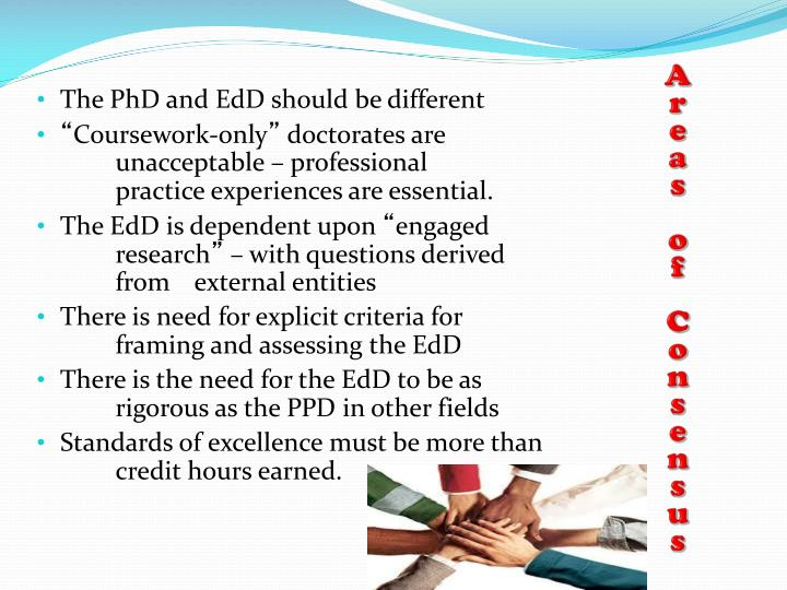 The PhD and EdD should be different