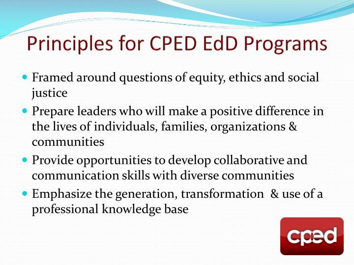 Principles for CPED EdD Programs