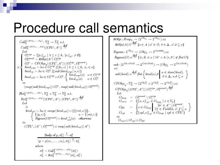 Procedure call semantics