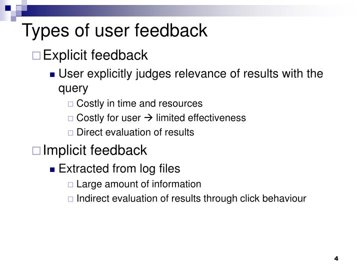 Types of user feedback
