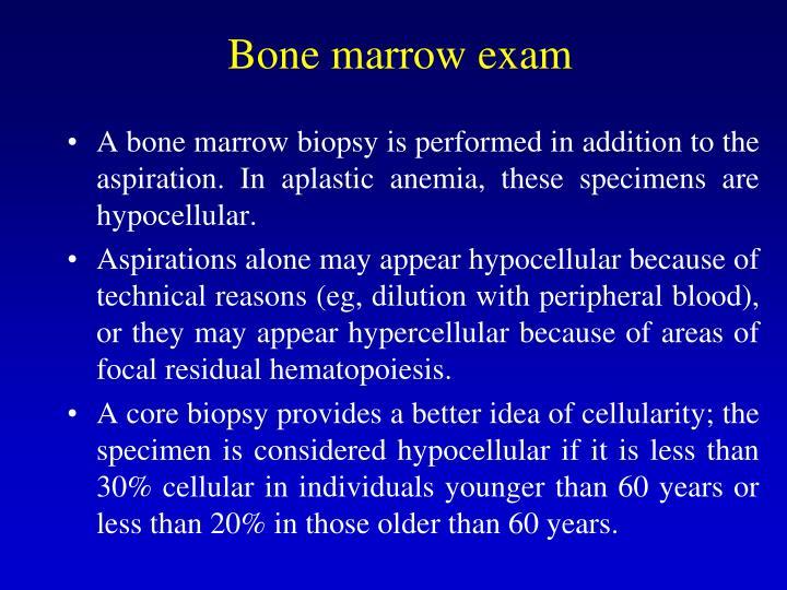 Bone marrow exam