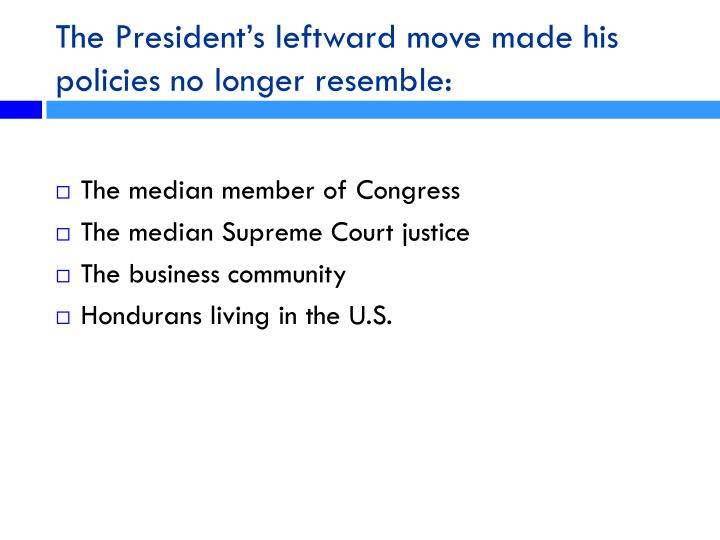The President's leftward move made his policies no longer resemble: