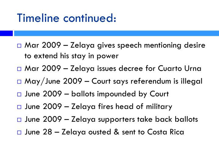 Timeline continued:
