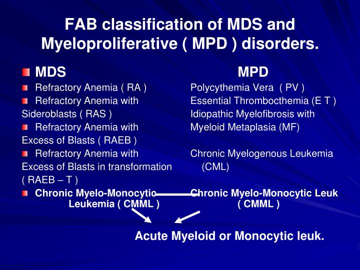 FAB classification of MDS and Myeloproliferative ( MPD ) disorders.