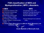 fab classification of mds and myeloproliferative mpd disorders