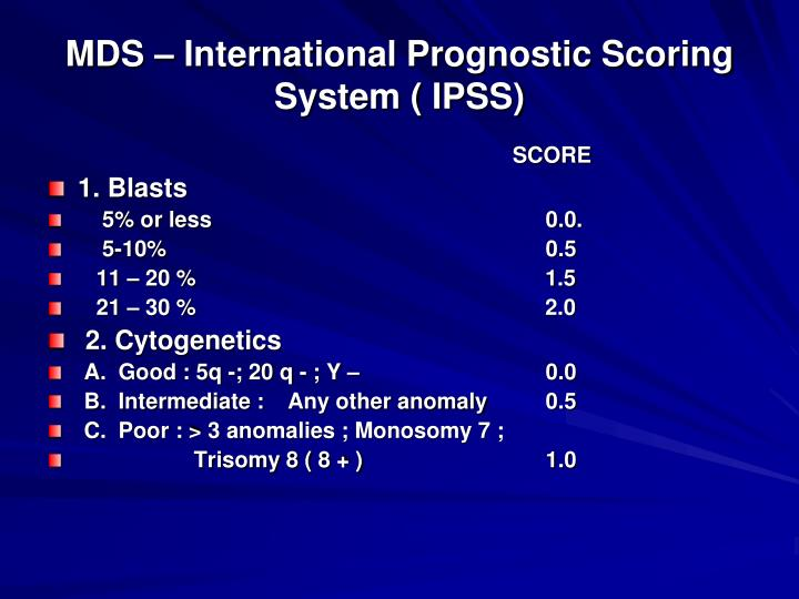 MDS – International Prognostic Scoring System ( IPSS)