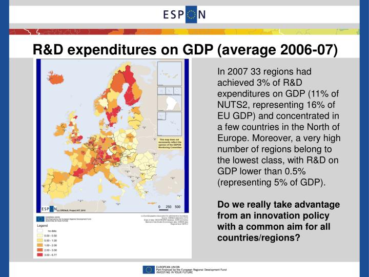 R&D expenditures on GDP (average 2006-07)