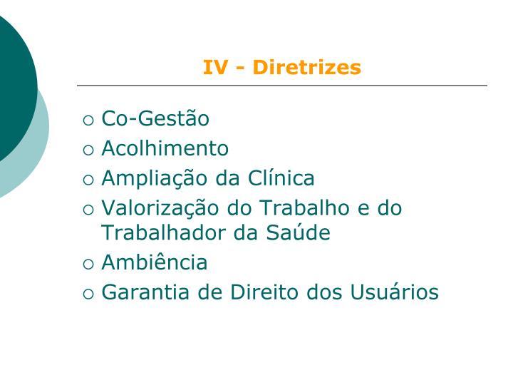 IV - Diretrizes
