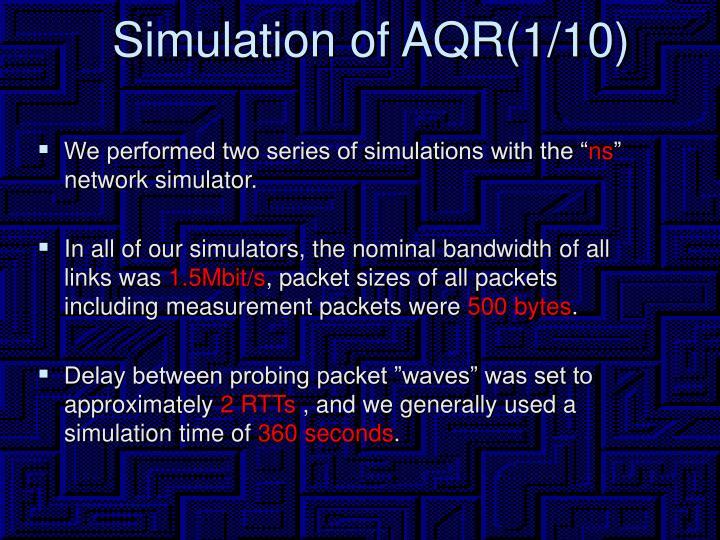 Simulation of AQR(1/10)