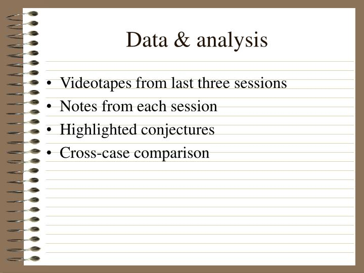 Videotapes from last three sessions