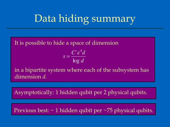 It is possible to hide a space of dimension