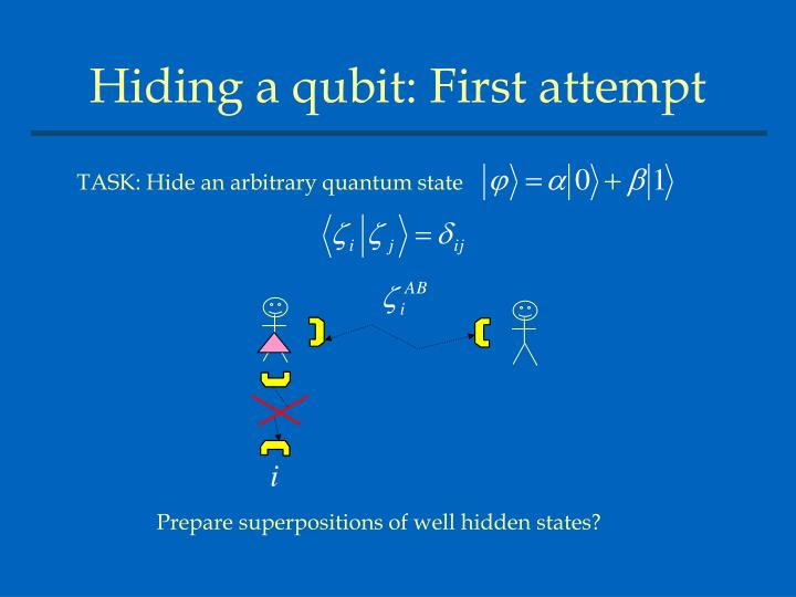 Prepare superpositions of well hidden states?