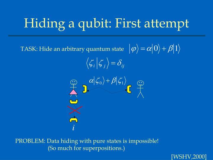 Hiding a qubit: First attempt