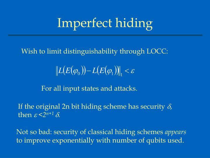 Imperfect hiding