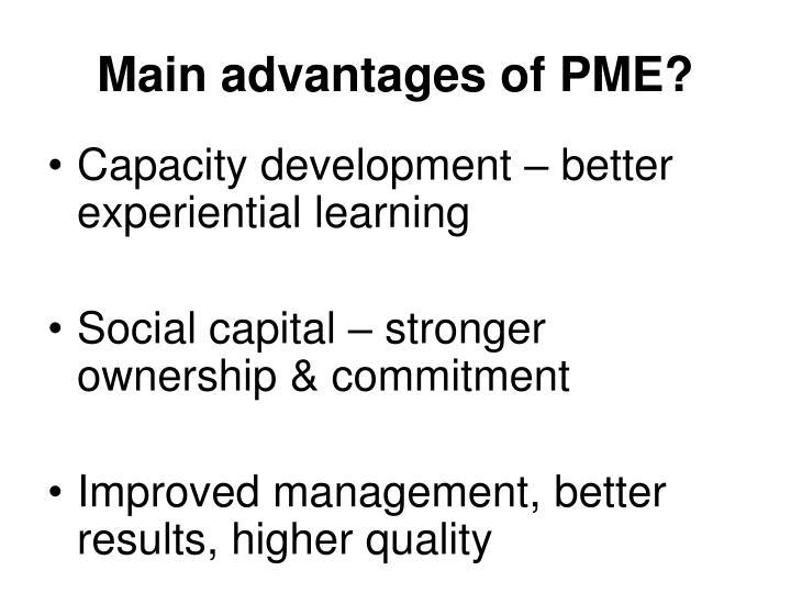 Main advantages of PME?