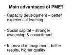 main advantages of pme